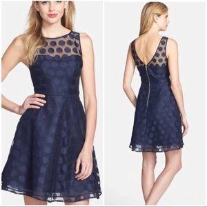 NWOT Betsy Johnson Navy Polka Dot Mesh Dress
